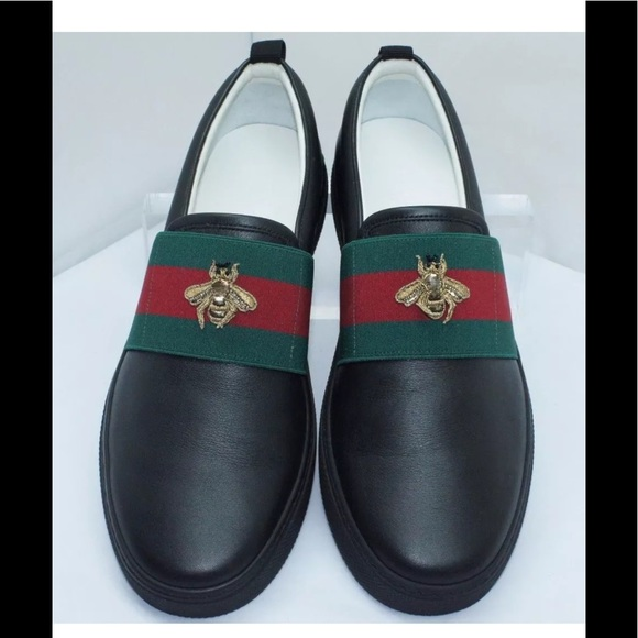 5e66736b7b8232 Gucci Men s Bee Web Miri Soft Black Loafer Size 9